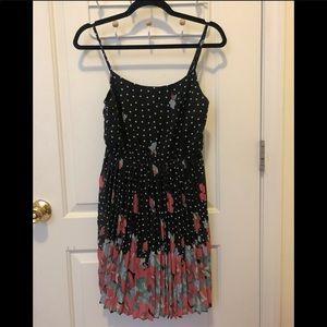 Pleated floral polka dot mini dress